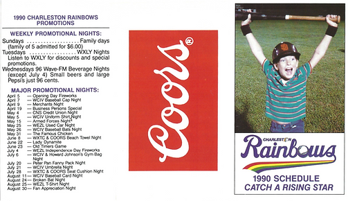 1990 Rainbows baseball schedule