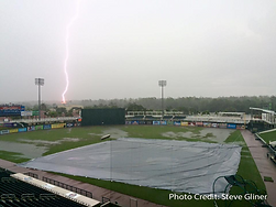college park stadium lightning strike charleston rainbows field rain delay