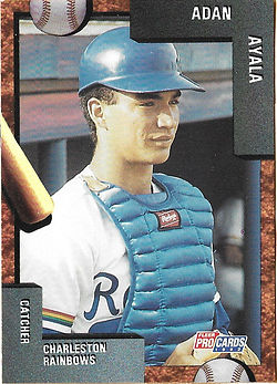 charleston rainbows 1992 minor league baseball card player Adan Ayala Catcher