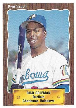 1990 charleston rainbows minor league baseball player Rico Coleman Outfield