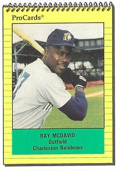 1991 charleston rainbows minor league baseball player Ray McDavid Outfield