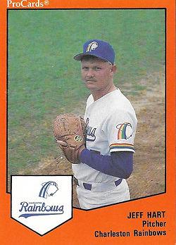Jeff Hart pitcher1989 charleston rainbows minor league baseball