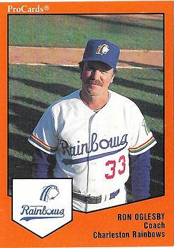 Ron Oglesby manager coach1989 charleston rainbows minor league baseball