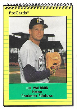 1991 charleston rainbows minor league baseball player joe waldron pitcher