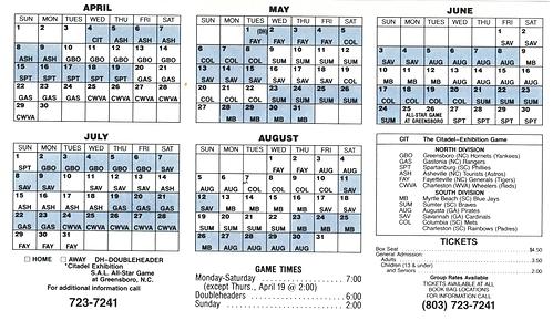 1990 rainbows baseball schedule