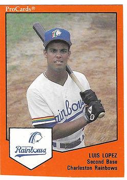 Luis Lopez 1989 charleston rainbows minor league baseball player