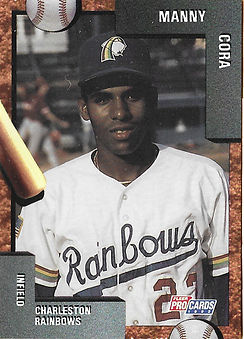 charleston rainbows 1992 minor league baseball card player Manny Cora IF