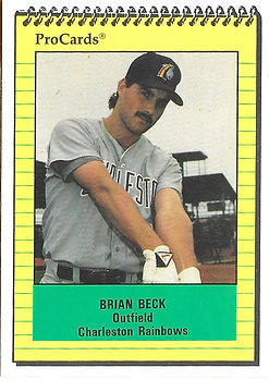 1991 charleston rainbows minor league baseball player brian beck outfield