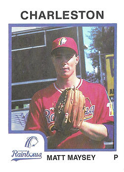 1987 Pitcher Charleston rainbows minor league baseball Matt Maysey
