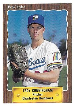 1990 charleston rainbows minor league baseball player Troy Cunningham Pitcher