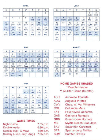 1988 rainbows baseball schedule