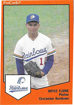 1989 charleston rainbows minor league baseball Bryce Florie Pitcher