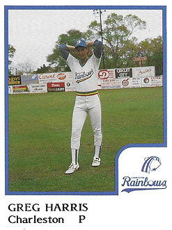 Greg Harris Pitcher Baseball1986 Charleston rainbows minor league baseball