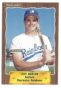 1990 charleston rainbows minor league baseball player jeff Barton Outfield