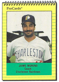 1991 charleston rainbows minor league baseball player Jaime Moreno Coach
