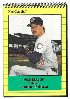 1991 charleston rainbows minor league baseball player Mike Bradley Pitcher