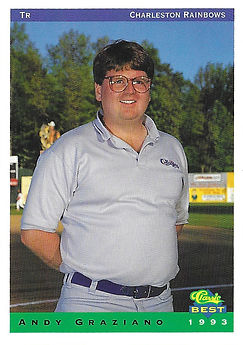 charleston rainbows 1993 minor league baseball card player Andy Graziano Trainer