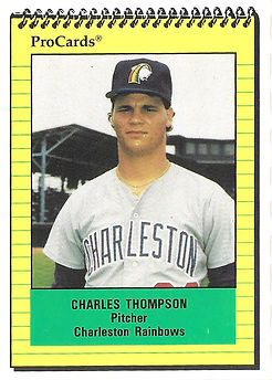 1991 charleston rainbows minor league baseball player charles thompson pitcher