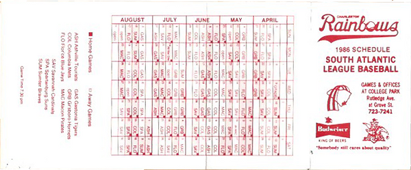 1986 charleston rainbows game schedule and promotional night schedule