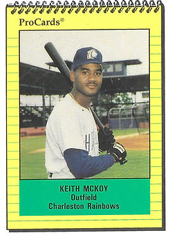 1991 charleston rainbows minor league baseball player keith mckoy outfield