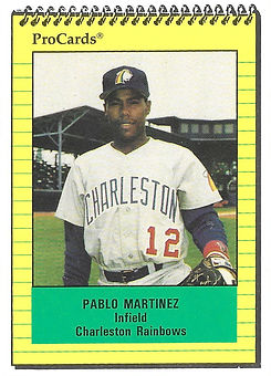 1991 charleston rainbows minor league baseball player Pablo Martinez   Infield