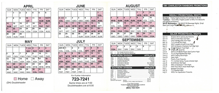 1991 Charleston Rainbows Schedule