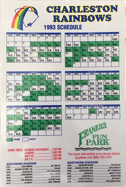 1993 charleston raibows magnet schedule baseball