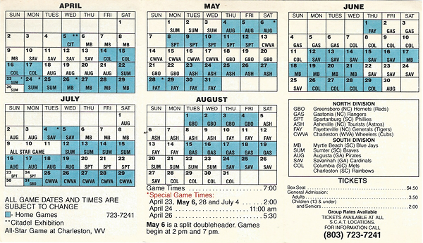 1989 charleston rainbows baseball schedule