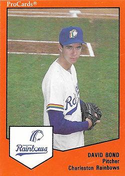 David Bond pitcher1989 charleston rainbows minor league baseball