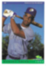 charleston rainbows 1993 minor league baseball card player hanley frias 2B