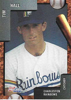 charleston rainbows 1992 minor league baseball card player Tim Hall Catcher
