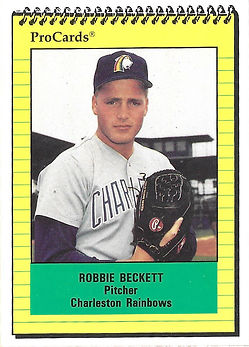 1991 charleston rainbows minor league baseball player Robbie Beckett Pitcher