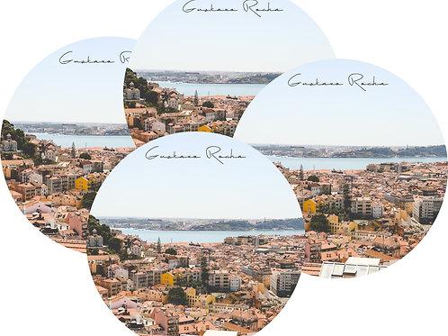 Kit Porta Copos, 4 Cerâmicas - Lisboa Mirante - Gustavo Rocha