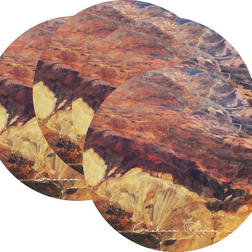 Kit Porta Copos, 4 Cerâmicas - Atacama Visto de Cima - Gustavo Rocha