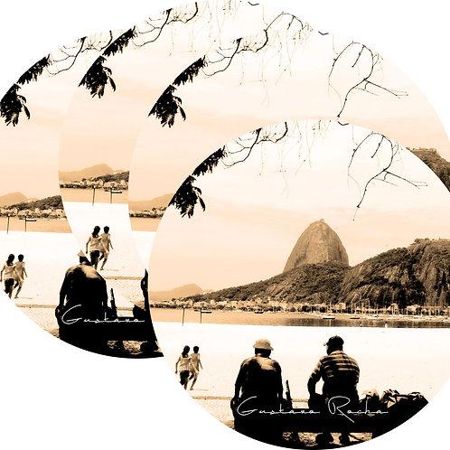 Kit Porta Copos, 4 Cerâmicas Rio de Janeiro Sépia - Gustavo Rocha