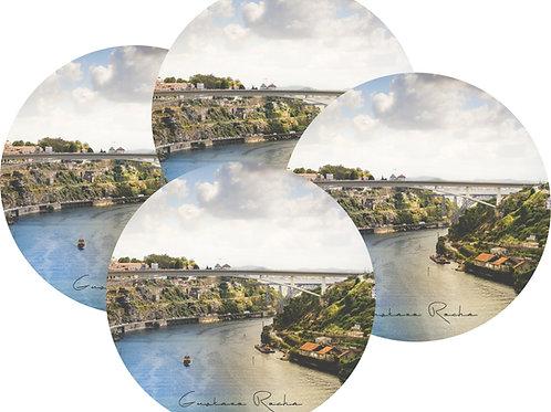 Kit Porta Copos, 4 Cerâmicas -Porto Rio Douro da Ponte - Gustavo Rocha