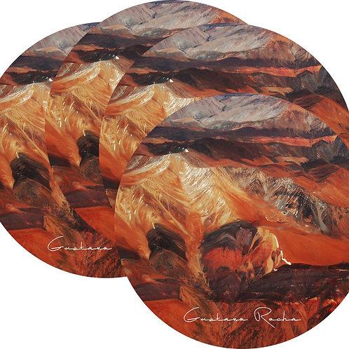 Kit Porta Copos, 4 Cerâmicas - Atacama Aéreo Textura