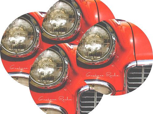 Kit Porta Copos, 4 Cerâmicas -Carro Vermelho - Gustavo Rocha