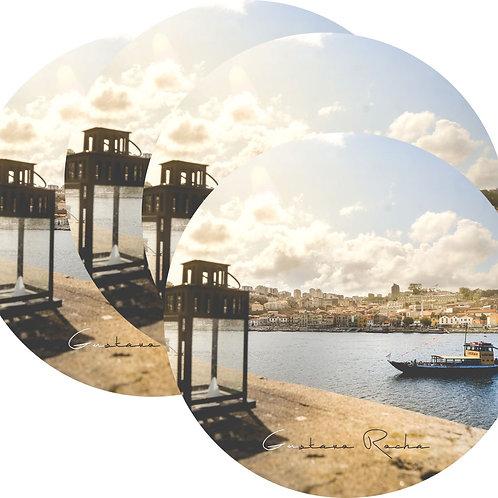 Kit Porta Copos, 4 Cerâmicas - Porto Rio Douro Barco - Gustavo Rocha