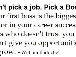 Don't pick a Job. Pick a Boss. WRONG!