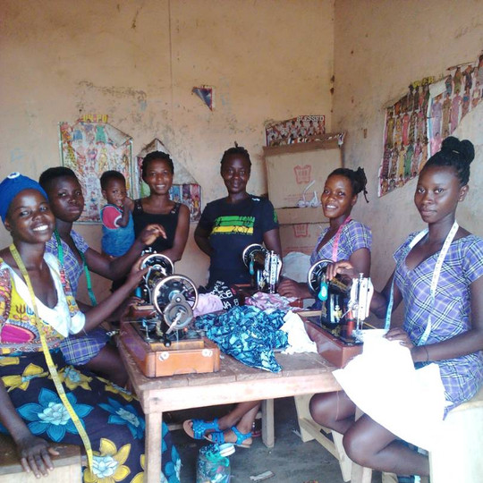Sister Wasilah (Teacher/Dressmaking Master), Rose (Student), Dzigdordze & BabyKara (Local Friends), Sister Alice (Friend and program assistance), Asana (Student), Dorcas (Student)