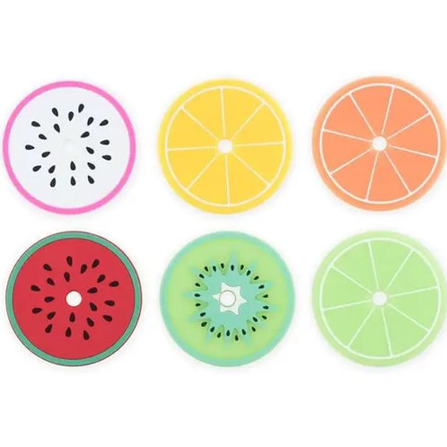 Tropical Fruit Drink Lid Coasters Safe Silicone