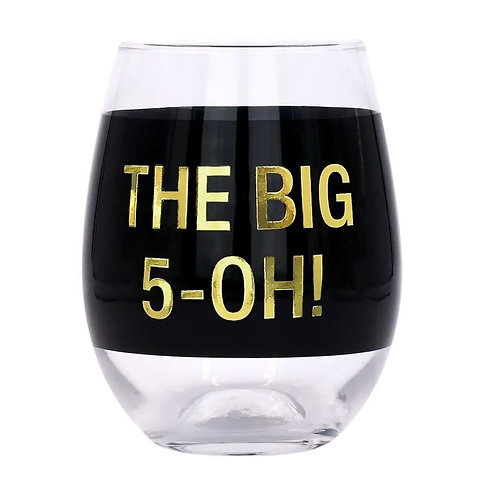 The Big 5-Oh Stemless Wine Glass
