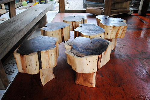 Tree Trunk Table with wooden leg