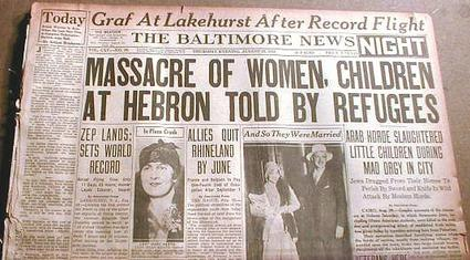 """Front page of The Baltimore News newspaper, showing the headline """"Massacre of Women, Children at Hebron Told By Refugees"""