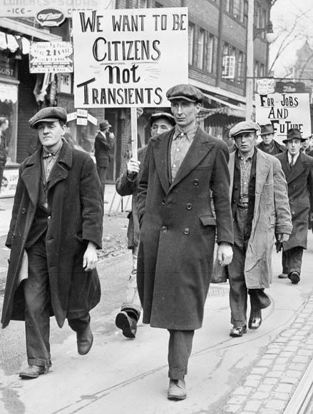 Unemployed men march in Toronto, Ontario, Canada