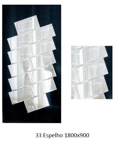 3PC33_Espelho Decorativo aplicado em madeira com bisotes diagonais