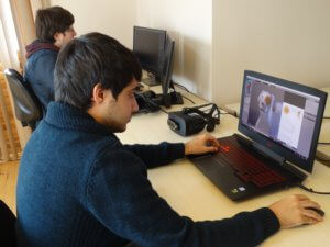 New graduates from Turkish universities work at Ideasis on developing virtual-reality scenarios to combat phobias that are common among refugee children.