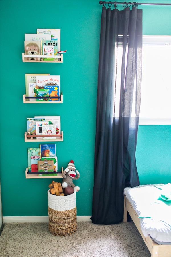modern green bedroom design- big boy room, ikea spice rack book shelf