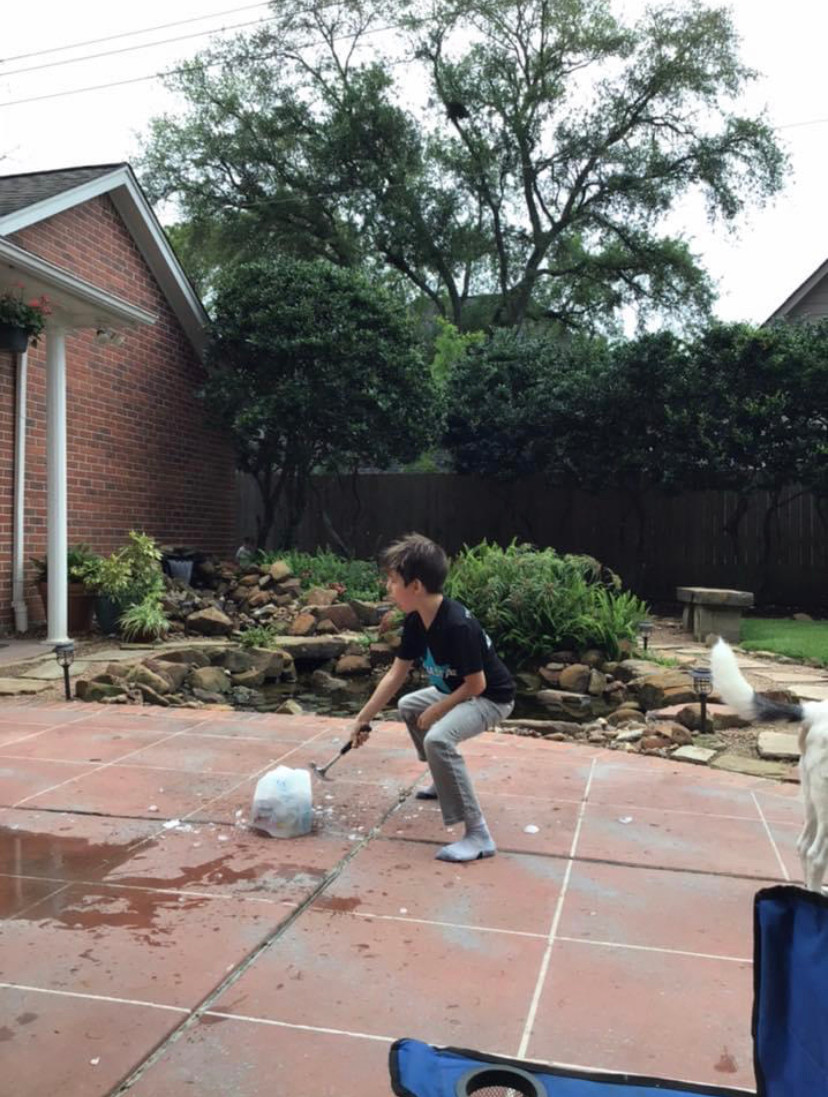 at home summer camp- ice block toy smash